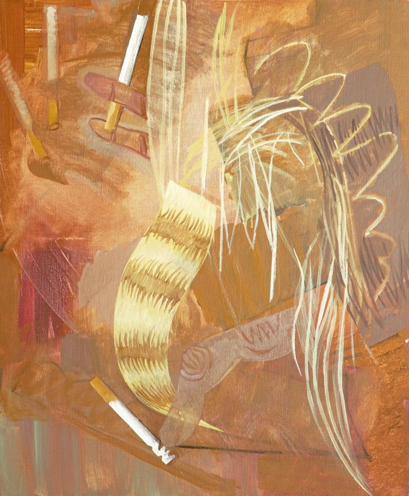 Olivier PASSIEUX - La blonde à la cigarette - Huile sur toile - 85x70 cm - 2018 - Copyright Galerie GAG