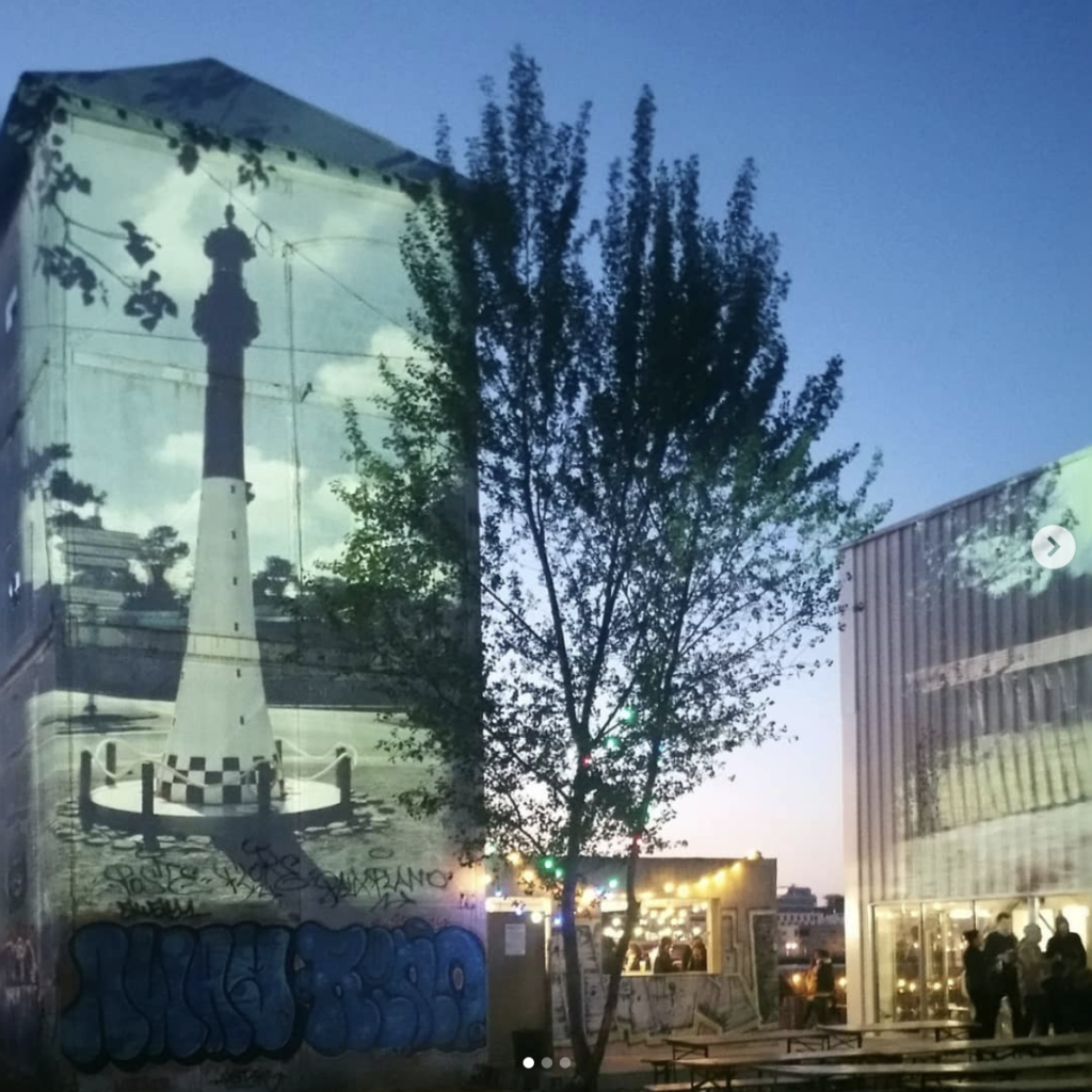 Projection on the Fabrique Pola building by Olivier Crouzel, 2019