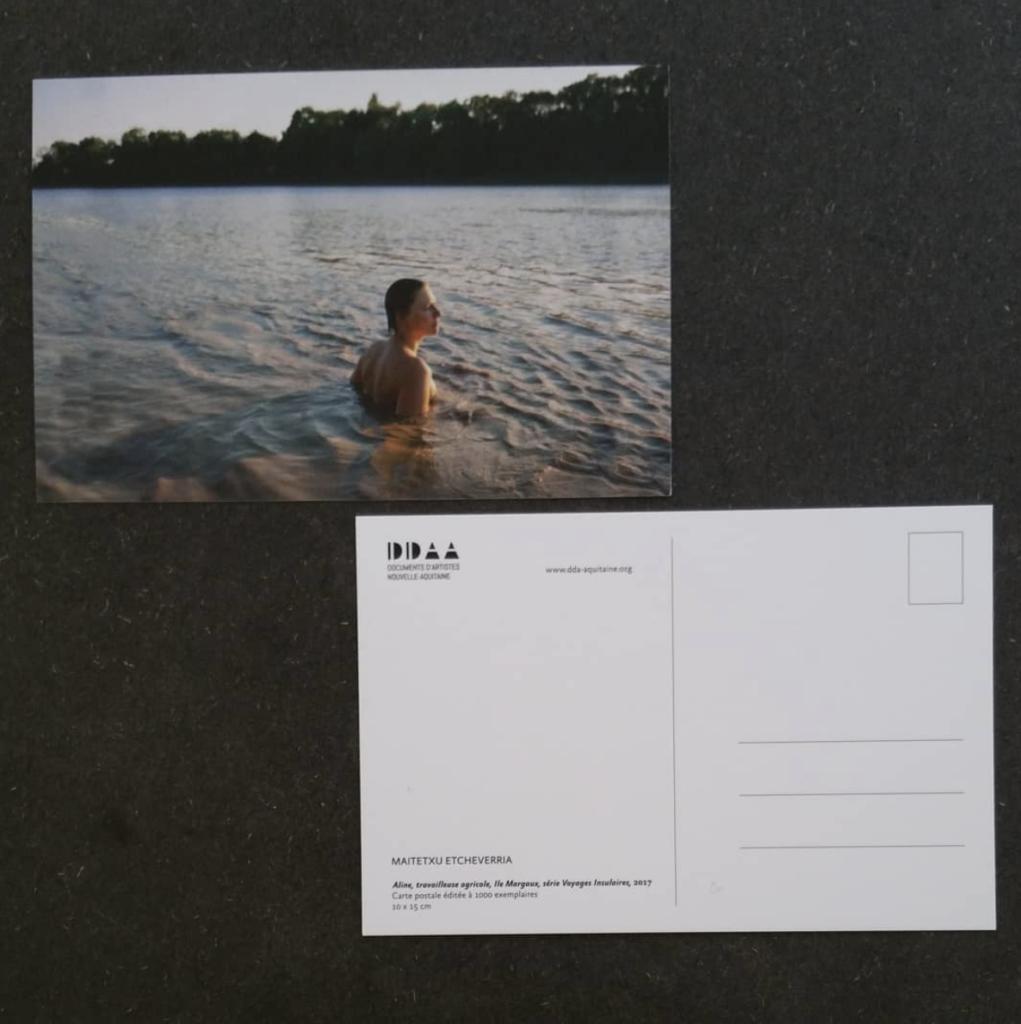 Postcard  edition -  Maitetxu Etcheverria, Aline, farm worker, Margaux's Island, Insular Travel Series, 2017
