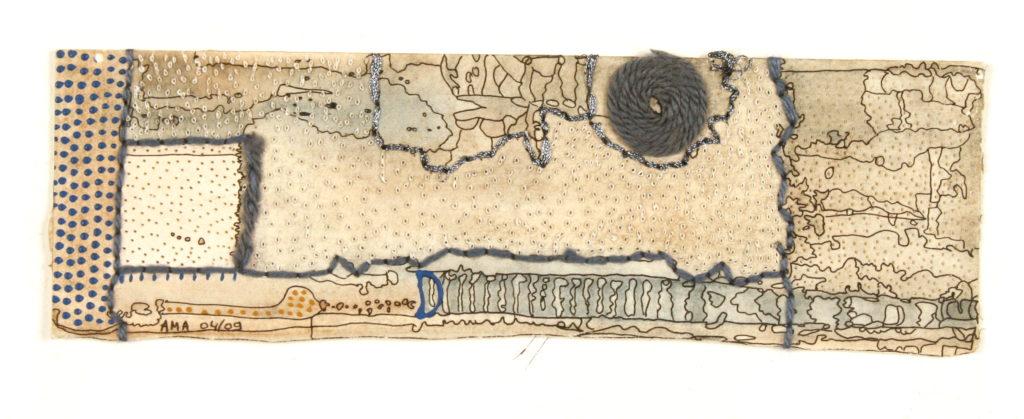 Marie AUDIN, sans titre, technique mixte sur papier, 7,6 x 24 cm, 2009, Collection Création Franche