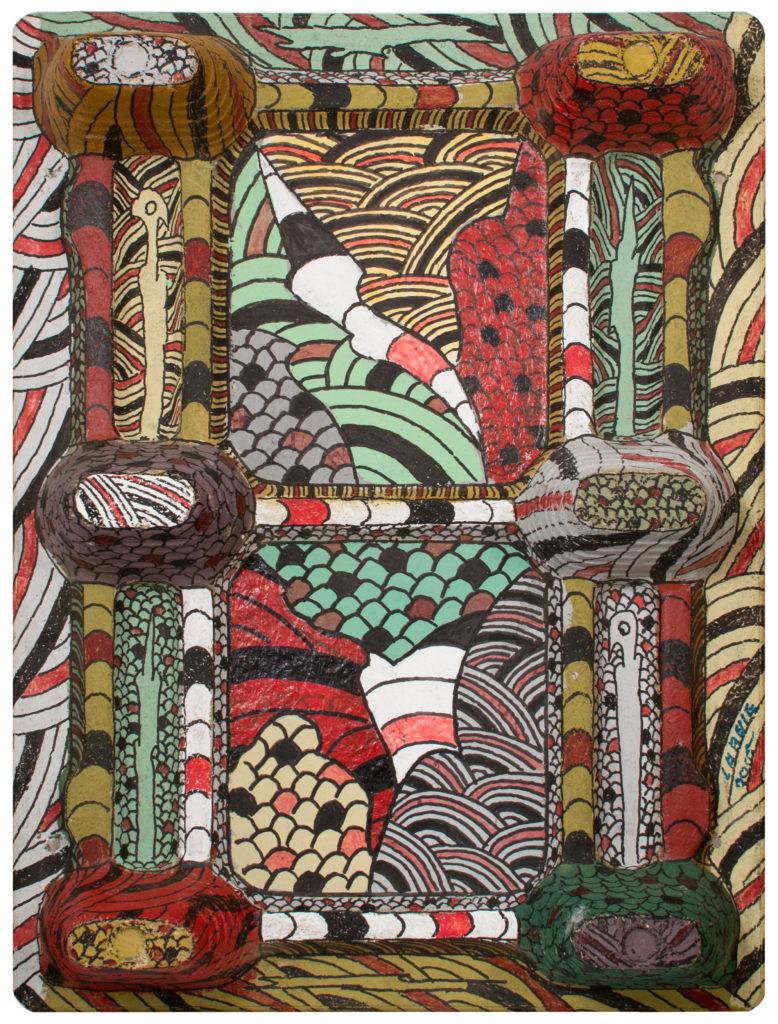 André LABELLE, sans titre, acrylique et feutre sur palette de bois aggloméré, 80 x 60 x 13 cm, 2005, Collection Création Franche