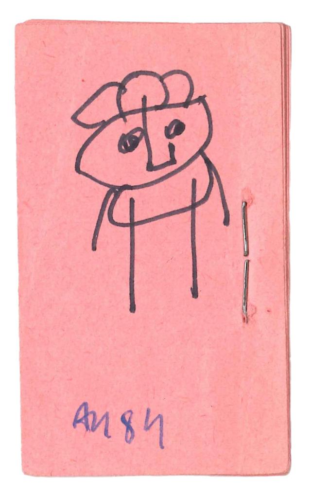 Adam NIDZGORSKI, sans titre, stylo à bille et feutre sur souche de tickets de cantine, 6 x 3,5 cm, 1984, Collection Création Franche