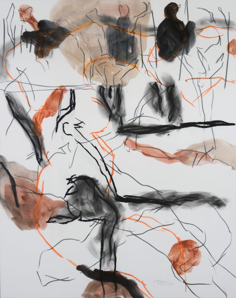 Alain Alquier - Bois de vie - 2017 - technique mixte sur carton MSK - 80 X 60 cm