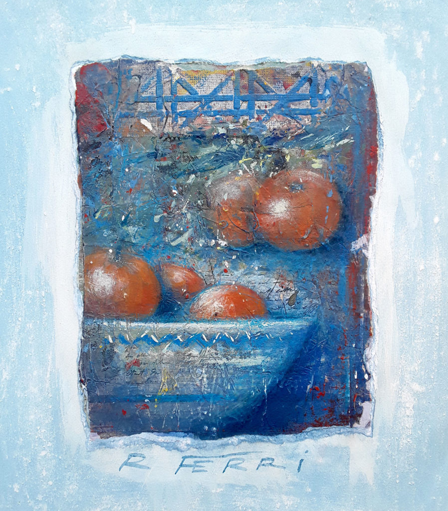 Robert Ferri - La coupe bleue - technique mixte - 40 X 35 cm
