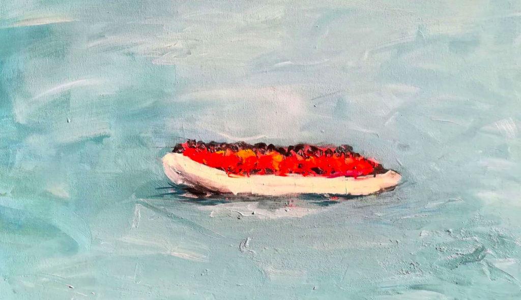 La croisière s'amuse, 2018, acrylique et spray sur toile, 120 x 90cm © Johan Baggio