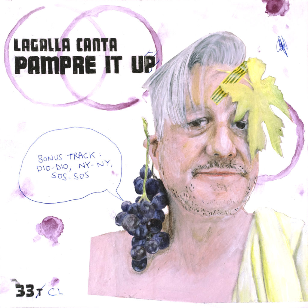 Thierry Lagalla, Pampre It Up !, 2019, technique mixte sur papier, 31.2 x 31.2 cm