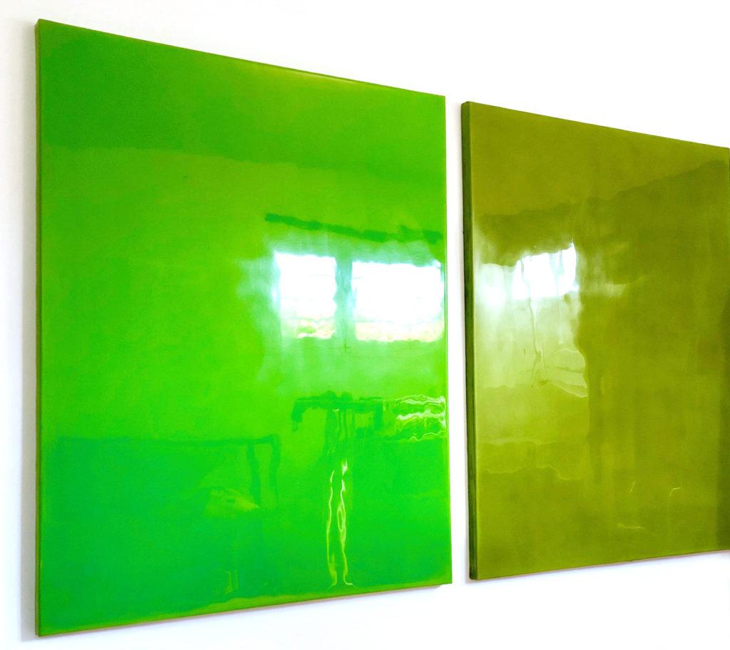 Almost paintings, 2019, 150 x 120 cm, huile sur toile, fibre de verre, résine epoxy & résine polyester teintée