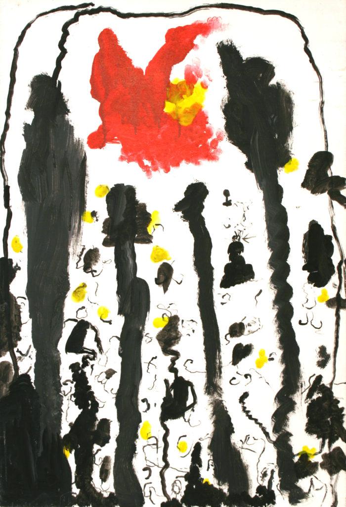 René MOREU, Au dernier soleil, peinture sur bois, 87 x 59,5 x 1 cm, 2003, collection Création Franche