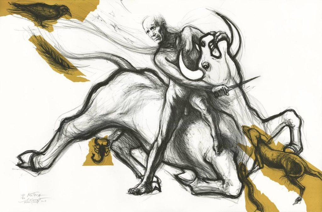Ernest PIGNON-ERNEST, Mithra, 2018 - Lithographie en 2 couleurs, 76 x 120 cm