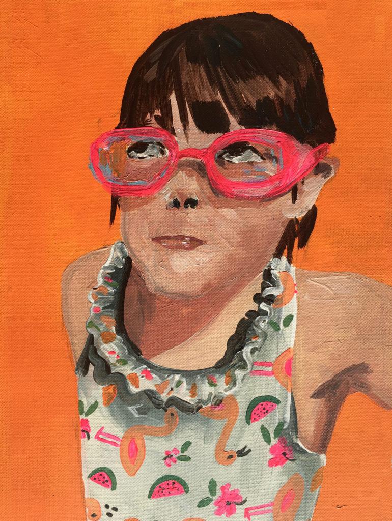 Cassandre Cecchella, Les brouillons chairs #2, 2020, acrylic on canvas, 28 x 21 cm
